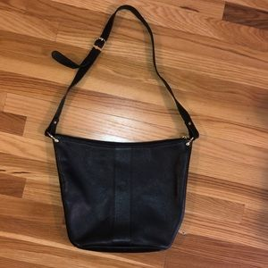 Vintage Fendi Black Leather Shoulder Bag